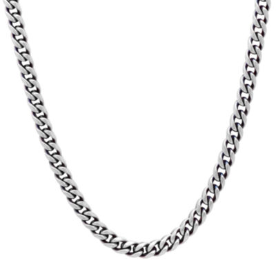 Mens Stainless Steel 24 Inch Matte Blue IP Finish Chain Necklace