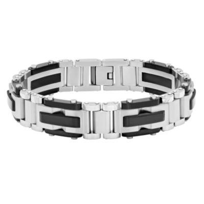 Mens 8.5 Inch Stainless Steel Black IP Finish Link Bracelet