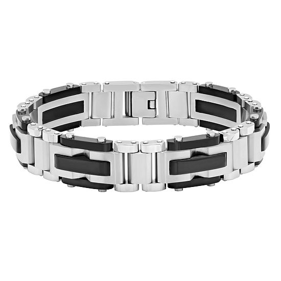 Mens 8.5 Inch Stainless Steel Black IP Finish Link Bracelet