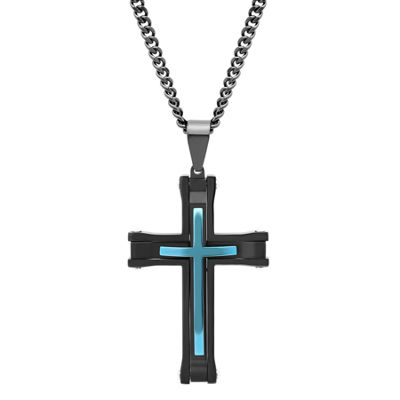 Mens Stainless Steel Black & Blue IP Cross Pendant Necklace