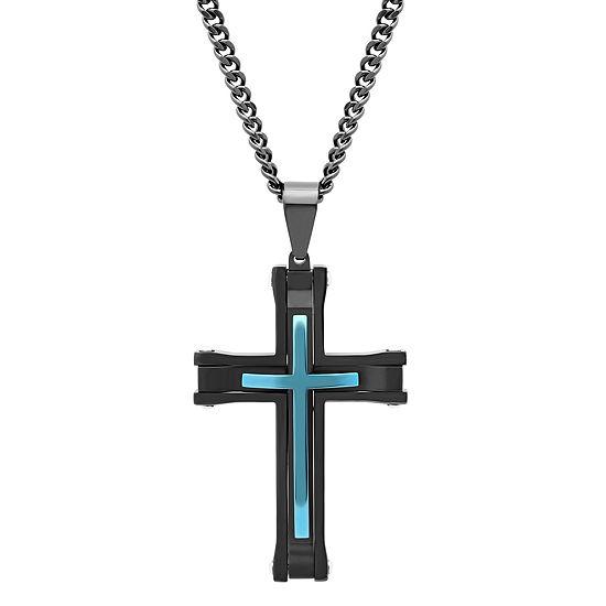 Mens Stainless Steel Black & Blue IP Cross Pendant Necklace