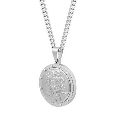 Mens Stainless Steel Religious Medal Pendant Necklace