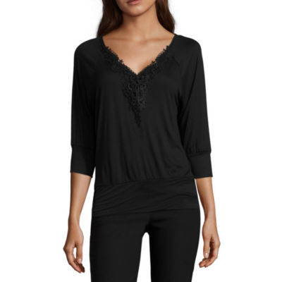 by&by 3/4 sleeve U Neck Blouse-Juniors