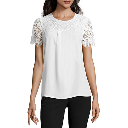 Worthington Short Sleeve Scoop Neck T-Shirt-Petites