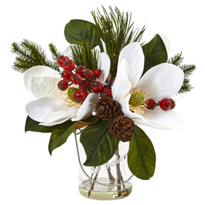 Magnolia; Pine; & Berry Floral Arrangement