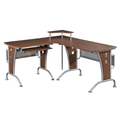 RTA Products LLC Techni Mobili Deluxe L-Shaped Tempered Frosted Glass Top Computer Desk with Pull Out Keyboard Panel