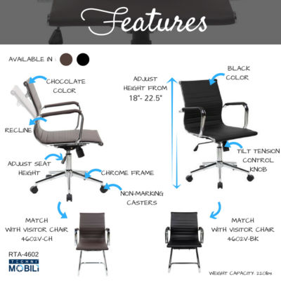 RTA Products LLC Techni Mobili Modern Medium Back Executive Office Chair