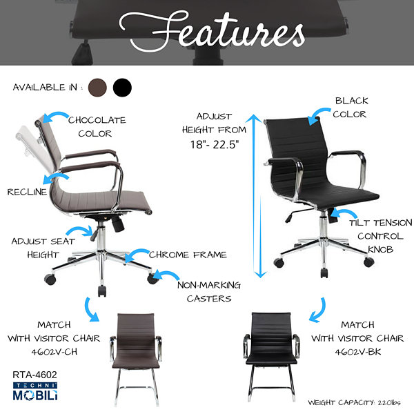 Techni Mobili Modern Medium Back Executive Office Chair
