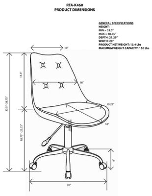 RTA Products LLC Techni Mobili Armless Task Office Chair