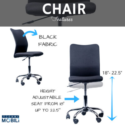 RTA Products LLC Techni Mobili Modern Armless Office Chair