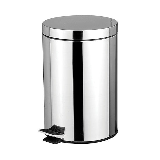 Home Basics  5-Liter Polished Stainless Steel Round Waste Bin