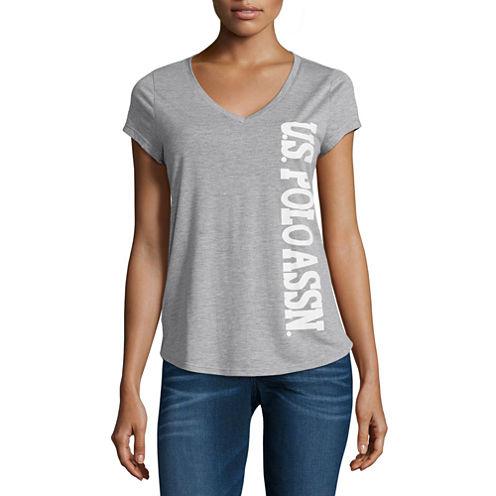 Us Polo Assn. Short Sleeve V Neck T-Shirt-Womens