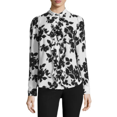 Worthington Long Sleeve Ruffle Button-Front Blouse