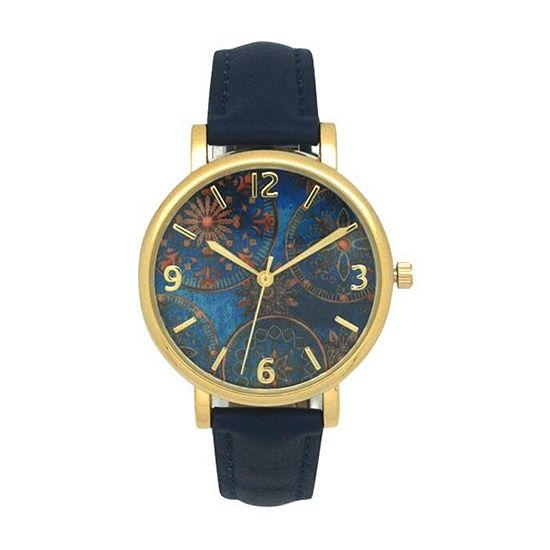 Olivia Pratt Floral Unisex Adult Blue Leather Bracelet Watch-17741blue