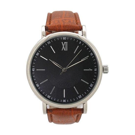 Olivia Pratt Anchor Mens Brown Leather Bracelet Watch-8920lightbrown