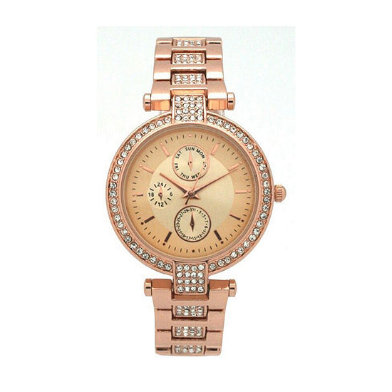 Olivia Pratt Unisex Adult Digital Rose Goldtone Leather Strap Watch-16852rose