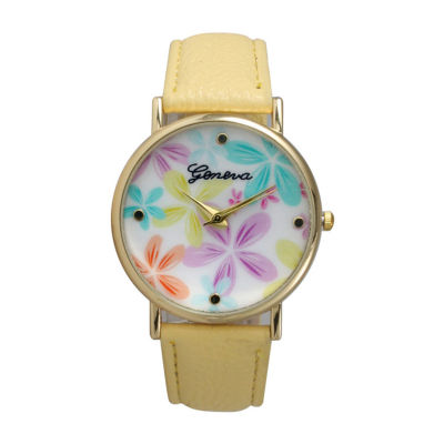 Olivia Pratt Floral Unisex Green Bracelet Watch-20376yellow