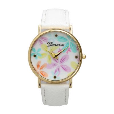 Olivia Pratt Floral Unisex Black Bracelet Watch-20376white