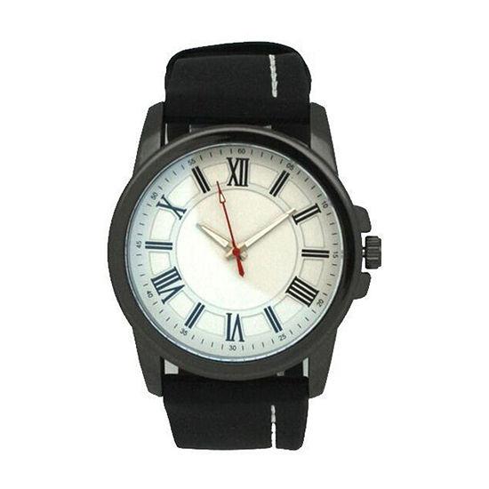 Olivia Pratt Unisex Adult Black Leather Bracelet Watch-26800blackwhite