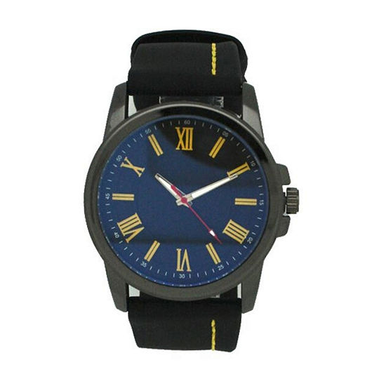 Olivia Pratt Unisex Adult Black Leather Bracelet Watch-26800blackyellow