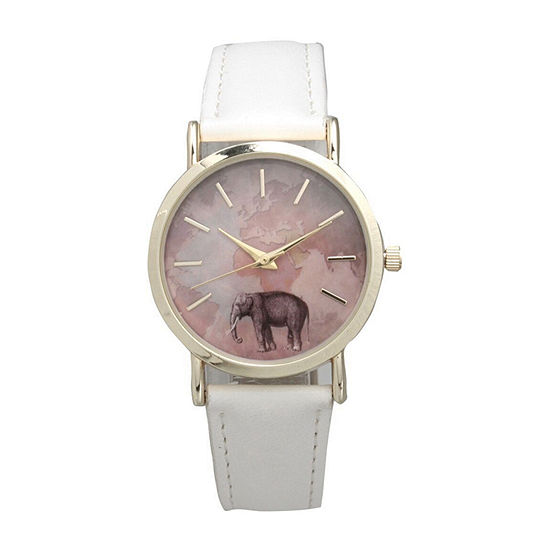 Olivia Pratt Elephant Unisex Gray Leather Bracelet Watch-16249white