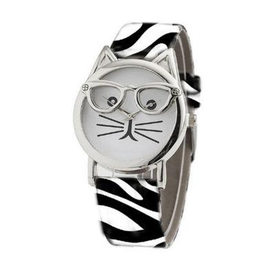 Olivia Pratt Cat Unisex Brown Strap Watch-15097zebra