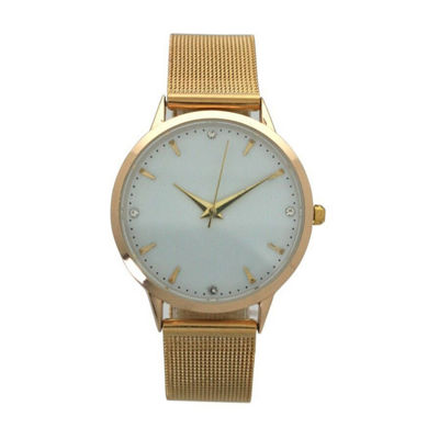 Olivia Pratt Mesh Unisex Rose Goldtone Strap Watch-D60031gold
