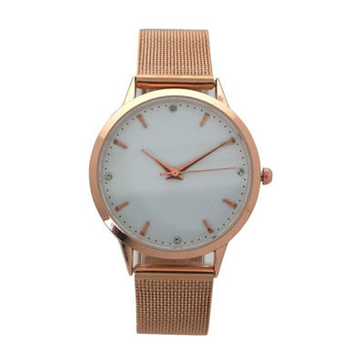 Olivia Pratt Mesh Unisex Brown Strap Watch-D60031rose
