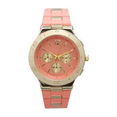 Olivia Pratt Unisex Pink Strap Watch-15098coral