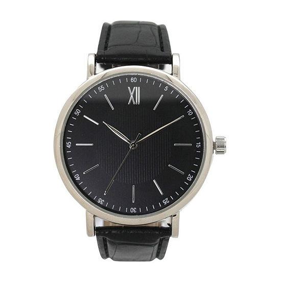 Olivia Pratt Anchor Unisex Adult Black Leather Bracelet Watch-8920black