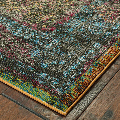 Gala Distressed Contemporary with Medallion Rectangular Rug