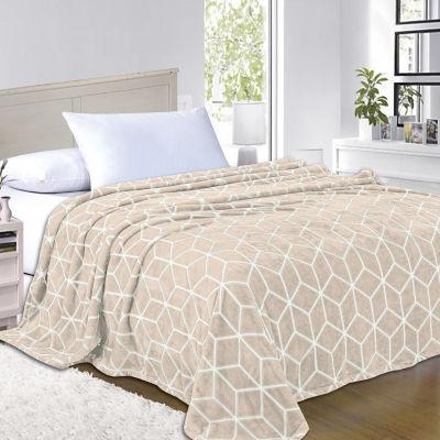 Elegant Comfort Luxury Micro-Fleece Ultra Plush Cube Pattern - All Season Blanket