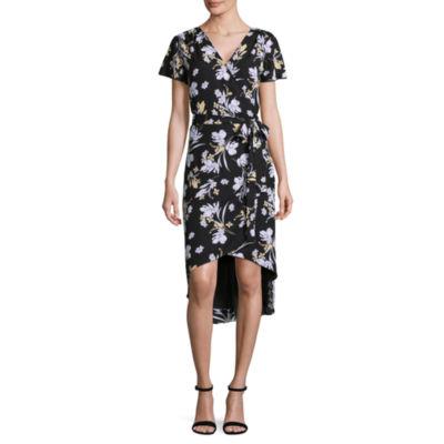 Worthington Short Sleeve Faux Wrap Dress