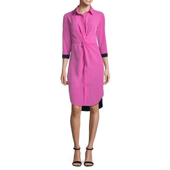 Project Runway Elbow Sleeve Twist Front Shirt Dress