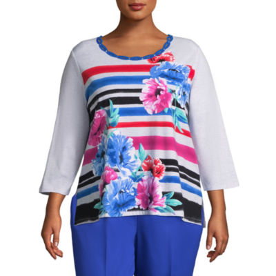 Alfred Dunner Upper East Side Stripe Floral Tee- Plus