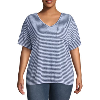 a.n.a Short Sleeve V Neck Stripe T-Shirt - Plus