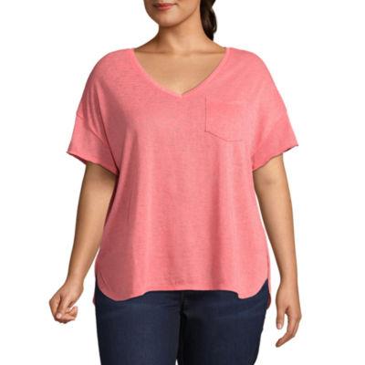 a.n.a Short Sleeve V Neck T-Shirt - Plus