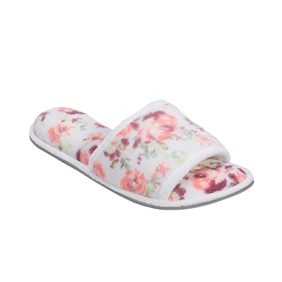 Dearfoams Terry Open-Toe Slip-On Slippers