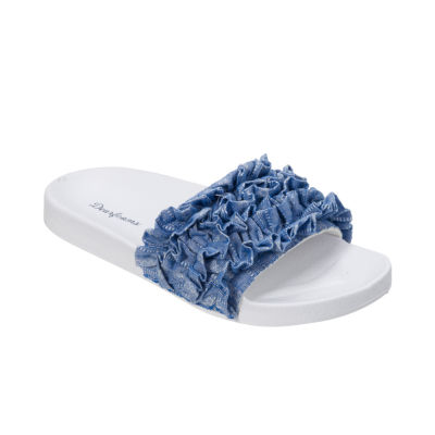 Dearfoams Ruffle Slide Slip-On Slippers