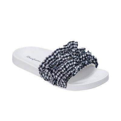 Dearfoams Ruffle Slide Slip-On Slippers