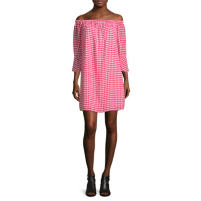 City Streets 3/4 Sleeve Dots Shift Dress