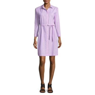 City Streets 3/4 Sleeve Shirt Dress