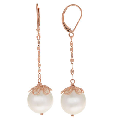 Cultured Freshwater Pearl 14K Rose Gold Drop Earrings