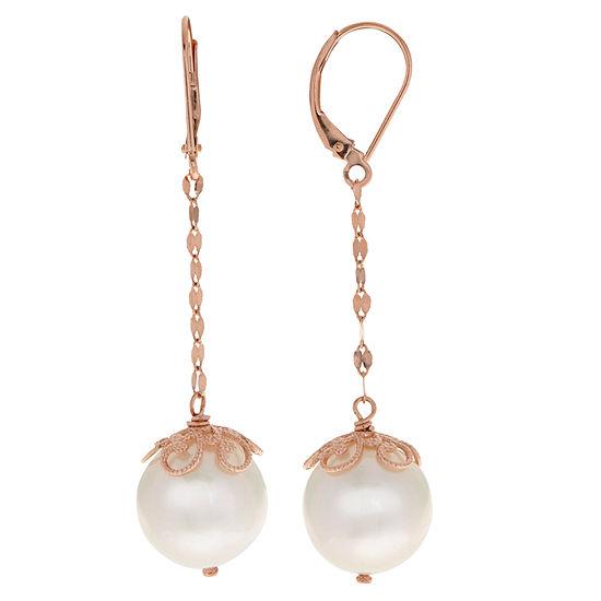 Cultured Freshwater Pearl 14k Rose Gold Drop Earrings
