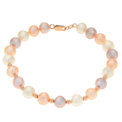 Cultured Freshwater Pearl 14K Rose Gold Beaded Bracelet