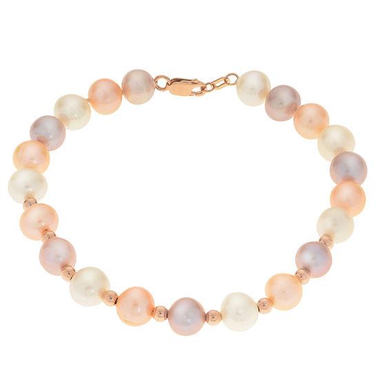 Cultured Freshwater Pearl 14K Rose Gold Beaded Bracelet