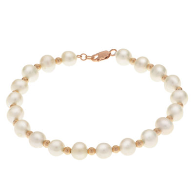 Womens Pearl 14K Gold Beaded Bracelet