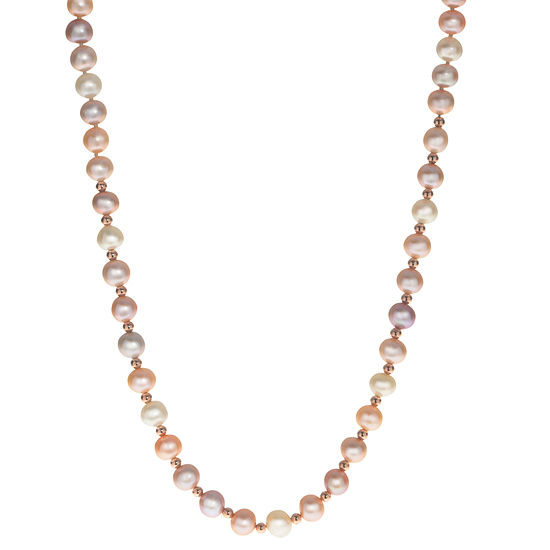 Womens 7MM Cultured Freshwater Pearl 14K Rose Gold Strand Necklace