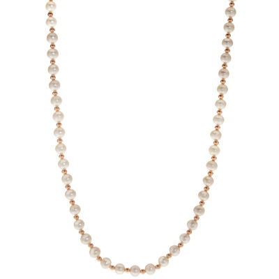 Womens 6MM Cultured Freshwater Pearl 14K Rose Gold Strand Necklace