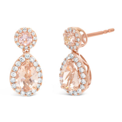 1/4 CT. T.W. Genuine Pink Morganite 10K Rose Gold 14mm Stud Earrings
